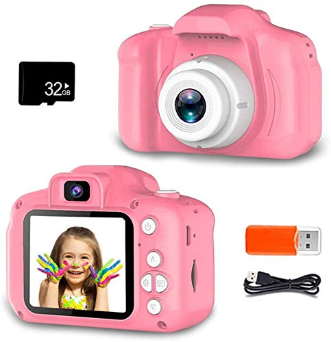 ZOULME Kids Selfie Camera, Digital Camera for Kids, Best Birthday Gifts for Girls Age 3-9, HD Digital Video Cameras for Toddler,Portable Toy for 3 4 5 6 7 8 Year Old Girl with 32GB SD Card-Pink