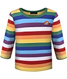 Ezsskj Kids Boys Children's Toddler Rainbow Striped T Shirts Long Sleeve Stripes Tee for Chucky Costume