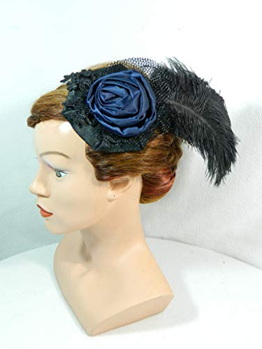 Fascinator schwarz blau Feder Kopfschmuck Gothic Burlesque Formal Damenhut Cocktailhut