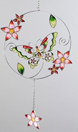 formano Hängedeko Fensterdeko Dekohänger Schmetterling aus Tiffanyglas in rot grün, 36 cm
