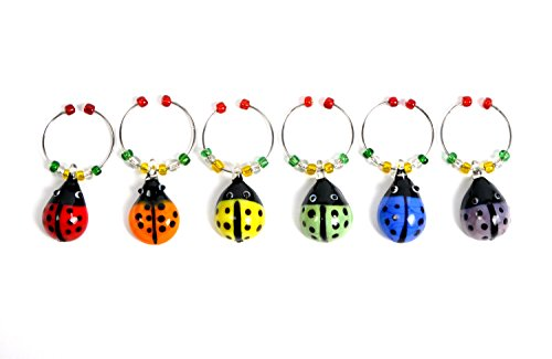 Cork & Leaf Glass LadyBug Wine Glass Charms, Hand Painted Glass - Set of 6 with Sateen Storage Bag