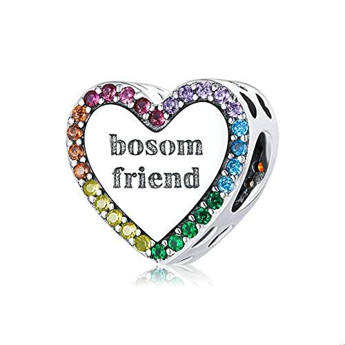 LIJIAN DIY 925 Sterling Jewelry Charm Beads Friend Heart Make Original Pandora Collares Pulseras Y Tobilleras Regalos para Mujeres