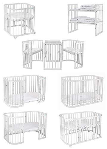 WALDIN Kinderbett Set, 7in1, Minibett,Babybett, Laufgitter, Beistellbett, Wickeltisch, Stühle und Kindertisch mit Matratze, höhen-verstellbar, Buche Massiv-Holz weiß lackiert