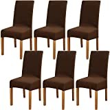 6 Pièces GouBao Housse de Chaise Moderne élastique, Amovible Lavable Extensible Housses de chaise de salle à manger, Couverture de Chaise pour Décor Salle à Manger, Hôtel et Mariage (Marron foncé)