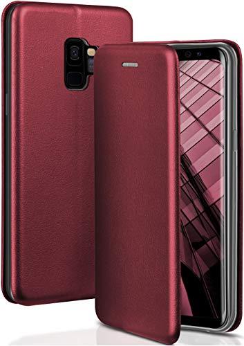 ONEFLOW Handyhülle kompatibel mit Samsung Galaxy S9 - Hülle klappbar, Handytasche mit Kartenfach, Flip Hülle Call Funktion, Klapphülle in Leder Optik, Weinrot