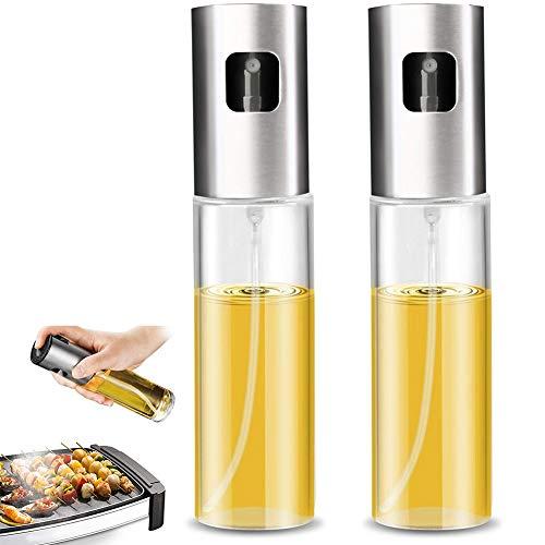 TNMV 2PCS Pulverizador de Aceite, Pulverizador de Aceite para Cocina Botella de Vidrio de Grado alimenticio Dispensador de Aceite de Oliva, para Cocinar/Ensalada/Hornear Pan/BBQ/Cocina 100ML