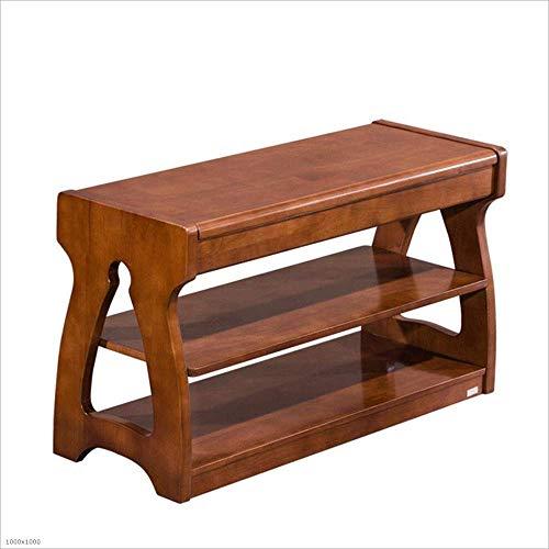 Xiejia - Taburete de madera maciza, multifuncional, con soporte para zapatos, tamaño: 80 x 30 x 45 cm, color marrón