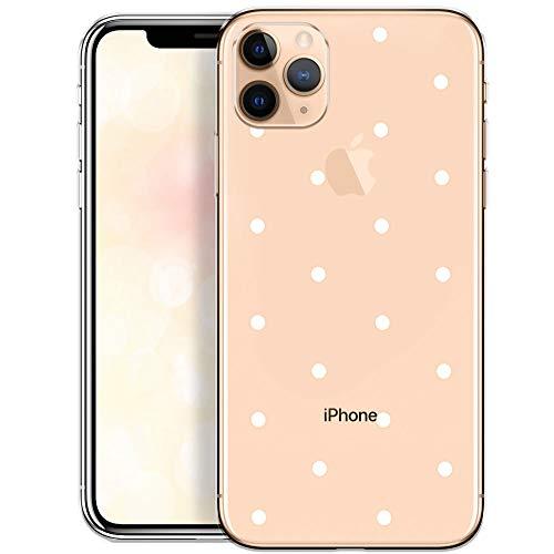 QULT Handyhülle kompatibel mit iPhone 11 Pro Hülle transparent ultradünn Slim Bumper Silikon Schutzhülle durchsichtig Hülle mit Motiv weiße Punkte