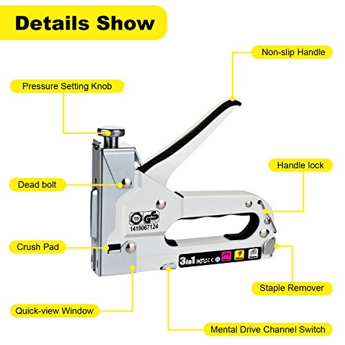 WETOLS Staple Gun, Heavy Duty Staple Gun, 3 in 1 Manual Nail Gun with 2400...