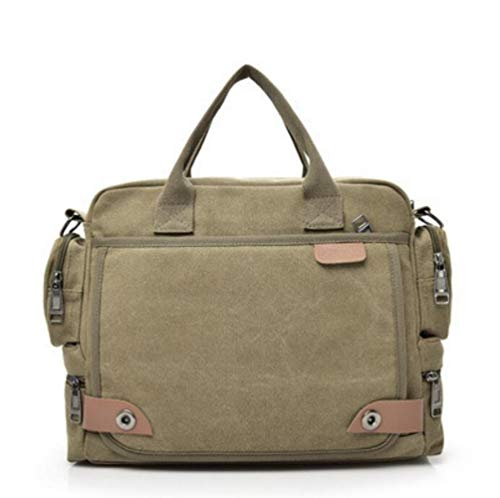Travel Outdoor Messenger Bag Canvas Satchel College Bag Bookbag Work Shoulder Bag ArmyGreen Crossbody Bag for Mens Womens (khaki)