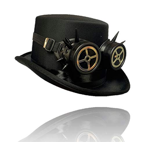 Stylex Party Ltd Steampunk Gotische Top Hoed & Zwarte Spike Cross Goggles Fancy Jurk Kerstmis Halloween Retro