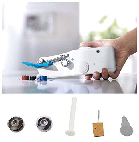 Mini máquina de coser portátil de mano para principiantes Máquina de coser eléctrica Herramienta doméstica para tela, ropa, tela para niños, uso de viajes en el hogar