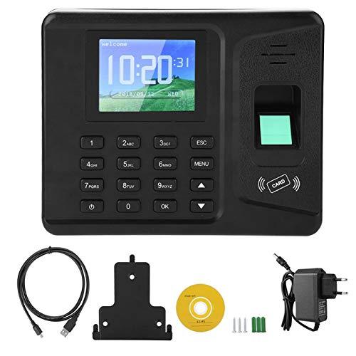 Máquina de Asistencia biométrica, Registrador de Huellas Dactilares TFT de 2,8'Reloj de Asistencia Máquina de Tarjetas de Tiempo Registrador de Registro de empleados Inteligente(Enchufe de la UE)