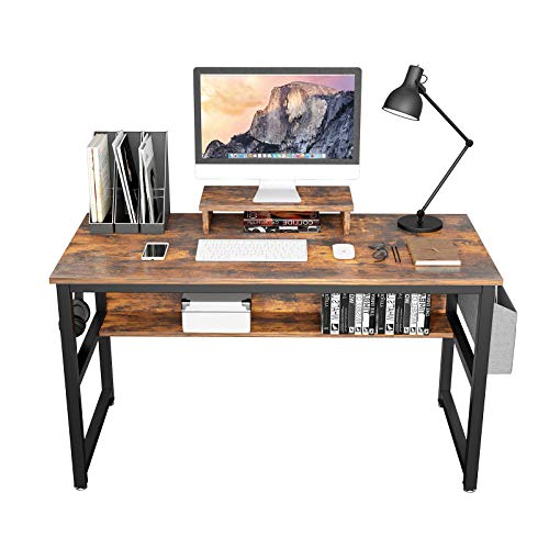 TREETALK Computer Desk, Industrial Writing Desk with Storage Bag, 47in Computer PC Laptop Table with Bookshelf and Wood Monitor Stand Riser, Dining Gaming Table for Home Office (Charcoal Grey)