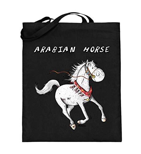 Shirtee divertido caballo árabe Comic I Caballos árabes Cartoon I sangre completa – Bolsa de yute (con asas largas) – 38 cm – 42 cm de color negro
