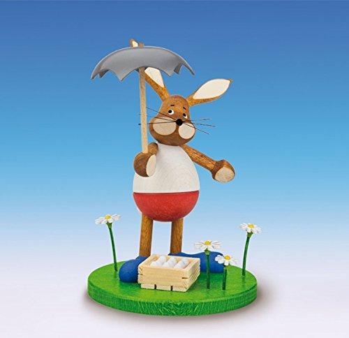 Rudolphs schatkist paashaas met paraplu, hoogte 15 cm, paasdecoratie, paashaasfiguur Pasen mand, paaseieren, lente Ertsgebergte, zeep, haas, bloemen