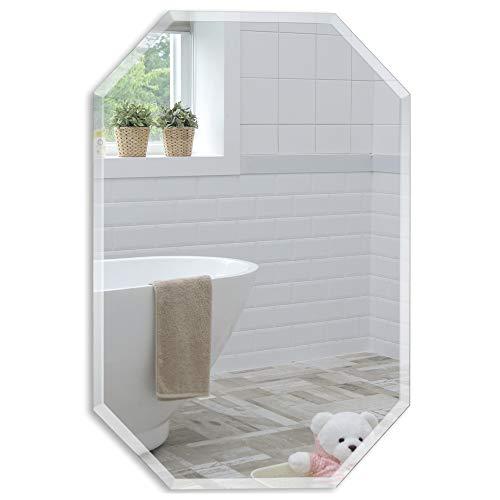 Schöner achteckiger Badezimmerspiegel, modern und stylish, mit abgerundeten Kanten, Wandbefestigung, Badspiegel, Wandspiegel, Spiegel 50cm X 40cm
