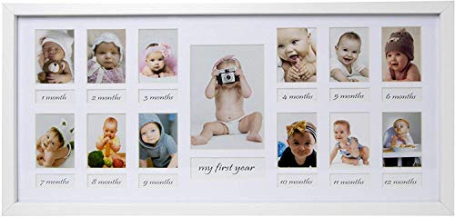 BD ART 23 x 50 cm Marco múltiple - Mi primer año - para 12 fotos de 5 x 7 cm y 1 foto de 9 x 13 cm, blanco