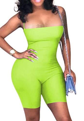 GRMO Women Bodycon Sexy Sleeveless Open Back Spaghetti Strap Short Jumpsuit Romper One US M