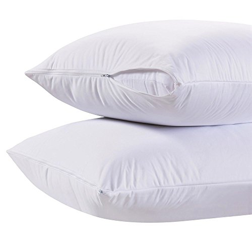 White Classic Luxury Hotel Collection Zippered Style Pillow Cover, 200 Thread Count, Soft Quiet Zippered Pillow Protectors, Standard Size, Set of 2