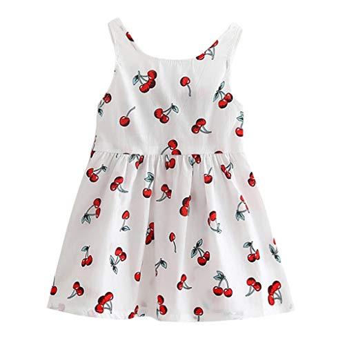 YWLINK Kleinkind MäDchen Rückenfrei Sommer Prinzessin Kleid Mit Kirsche Drucken Baby Party Hochzeit ÄRmellose Bequem Süß Kleider Weste Kleid mit Bogen(Weiß,120)