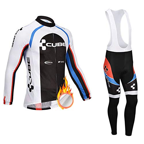 ZDFLC Conjunto de Maillots de Ciclismo para Invierno, Ropa de Bicicleta térmica de Equipo Profesional para Hombres + 3D Gel Larga Pantalones