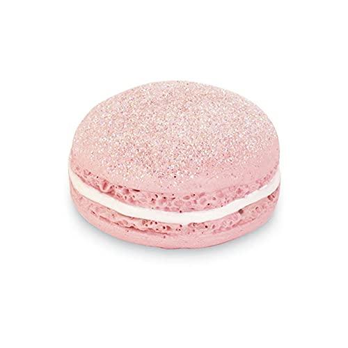 Ingrosso e Risparmio 6 imanes con forma de macarons rosa con purpurina, detalles originales para abrir, confites de nacimiento, cumpleaños, bautizo de niña (con paquete de color crema)