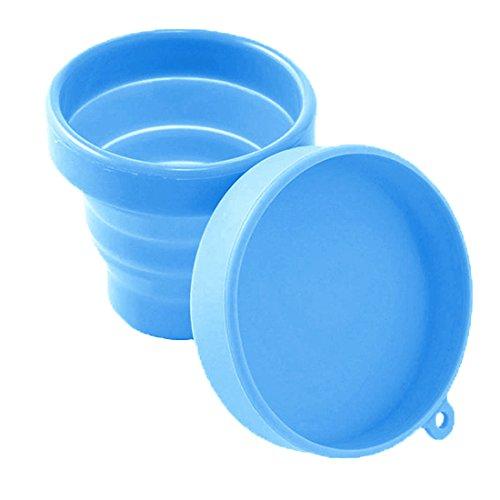 YSAGi zusammenklappbare sterilisierende Aufbewahrungstasse für Menstruationstasse (Mooncup), blau
