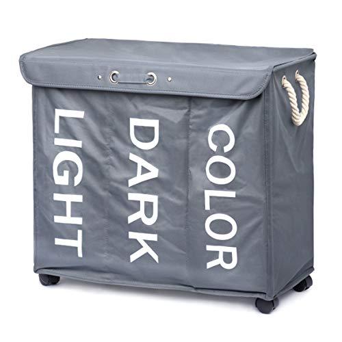 Minuma® Wäschekorb Wäschesortierer mit Rollen und Tragegriffen 96 Liter Fassungsvermögen | 3 Fächer zum bequemen vorsortieren Heller, dunkler und Farbiger Wäsche | 63 x 56 x 33 cm in dunkelgrau