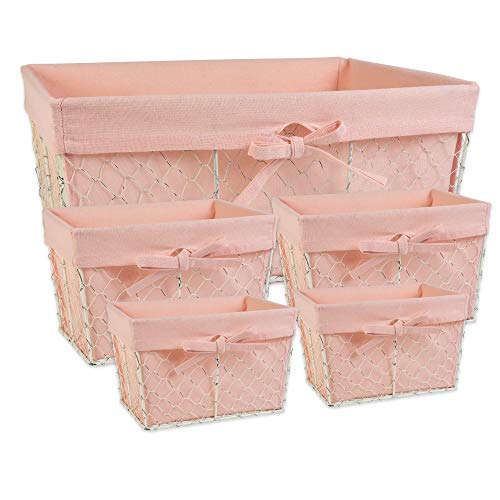 DII Z01915 Chicken Wire Baskets Antique White for Storage Removable Fabric Liner Assorted Set of 5 Blush 5 Piece