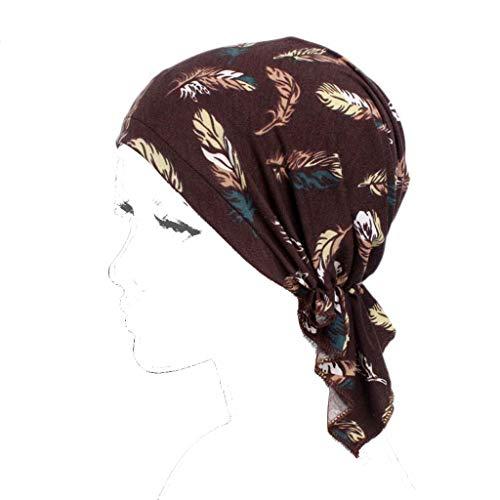 Dongguan NUEEUDD - Turbante para mujer con sombrero de quimioterapia turbante para la cabeza, bufandas pre-atadas con estampado floral gorro H