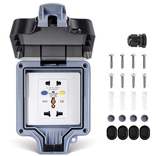 Enchufe exterior con interruptor, protección RCD, multifuncional, IP66, resistente a la intemperie, con tapa abatible para estancias húmedas, jardín, cocina