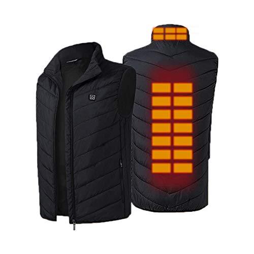 Grafeno Eléctrico Calentado Chaleco para hombre y mujer, Carga USB Chaleco calefactor inteligente de temperatura constante de seguridad para deportes de invierno fríos al aire libre (sin batería)