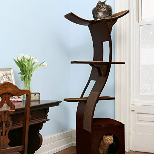 THE REFINED FELINE Lotus Cat Tower Furniture, Multi-Level Cat Tree with Scratching Pad, Perches,...