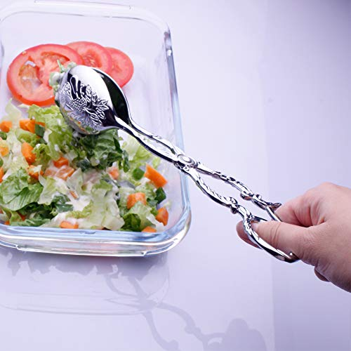 """Product Image 6: Enwinner Buffet Serving Salad Tongs, 9 inch Kirsite Chef Food Salad BBQ Serving Utensils, Set of 2, 9"""" (White)"""