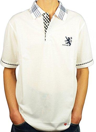 I Luv Ltd Mens Scotland Lion Tartan Collar Polo Shirt White Large