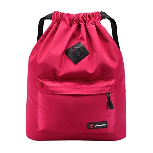 Rucksack Damen, VECOLE Backpack 2019 Sportreiserucksack der Zugschnurtasche im Freien Beiläufiger Kursteilnehmerrucksack(Pink)