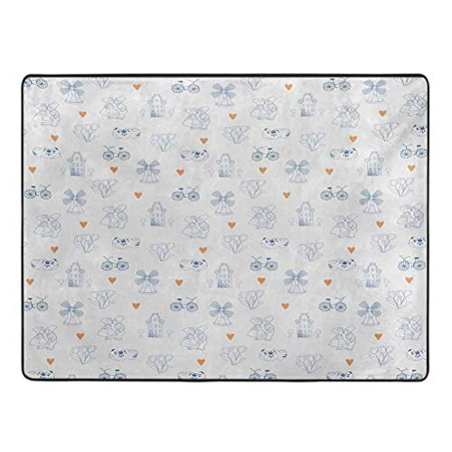 Dutch Rug pad Traditional Holland Culture Elements with Doodle Style Clogs Bicycles Area Rug for Boys Girls Living Room 6.5' x 9' Orange Navy Blue and White