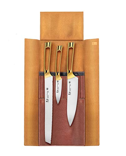 Cangshan N1 Series 62618 4Piece Leather Roll Knife Set Gold Plated Handle