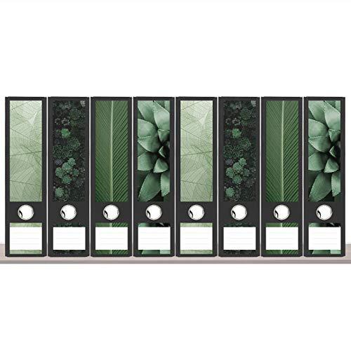 sendmoments Ordneretiketten, Grüne Welt, 8 breite Aufkleber für Ordnerrücken, selbstklebende Rückenschilder für breite Ordner mit zusätzlich 12 Beschriftungs-Aufklebern