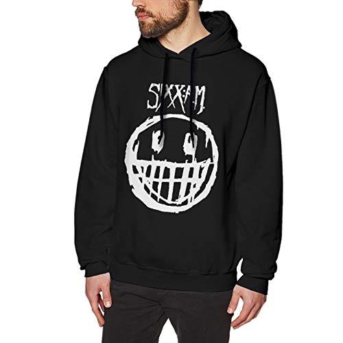 Sixx Am Logo Hoodie Men Fashion Long Sleeve Tops No Pocket Fleeces Sweatshirt Black