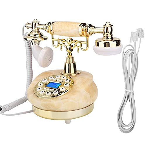 PUSOKEI Teléfono de Estilo Europeo, teléfono Fijo de Escritorio MS-8100A Adecuado para decoración del hogar, Soporte para identificación de Llamadas FSK y DTMF, teléfono Antiguo
