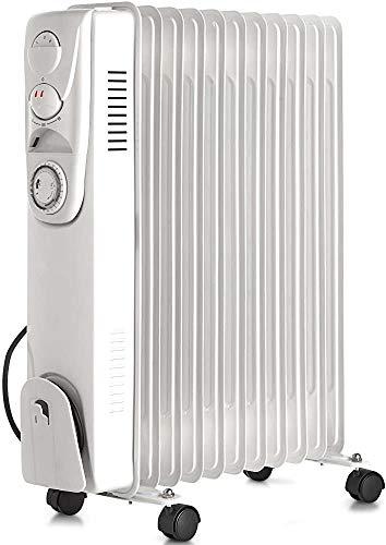 Radiador blanco de 2500W con 11 disipadores de calor en baño de aceite de 48,01 x 24 x 62,79 cm,White