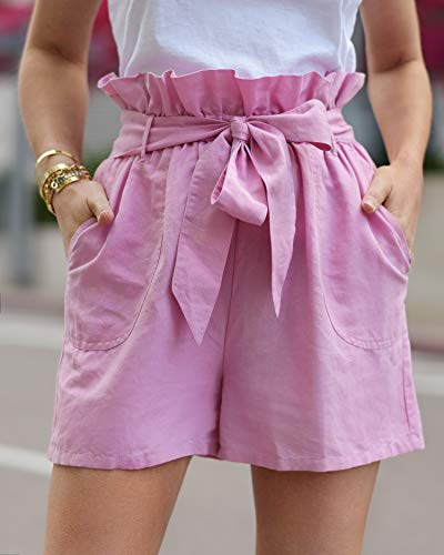 The Drop Women's Orchid Pink Loose Fit Paperbag Waist Short by @paolaalberdi