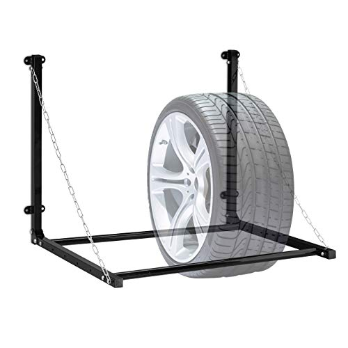 Relaxdays Reifenregal Wandmontage, für 4 Reifen, Teleskop Reifenhalter Wandhalterung, bis 90kg, klappbar, Stahl, schwarz