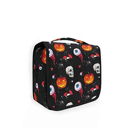 XIXIKO - Bolsa de aseo plegable para Halloween, diseño de calavera de calabazas
