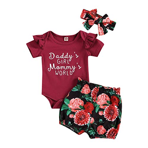 Infant Newborn Girls 3 Pcs Outfits Suits, Short Sleeve Letter Printed Romper Tops + Sunflower Shorts + Headband Sets (Wine Red, 0-6 Months)