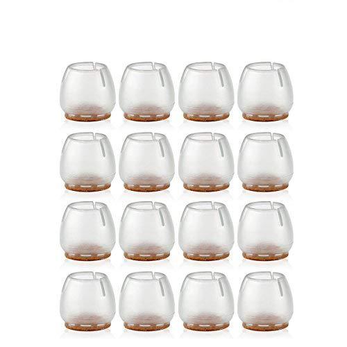 NUOLUX 16pcs Silicone chaise casquettes pieds tampons mobilier Table couvre plancher protège-jambes pour 25-29MM rond de jambes (Transparent + brun)