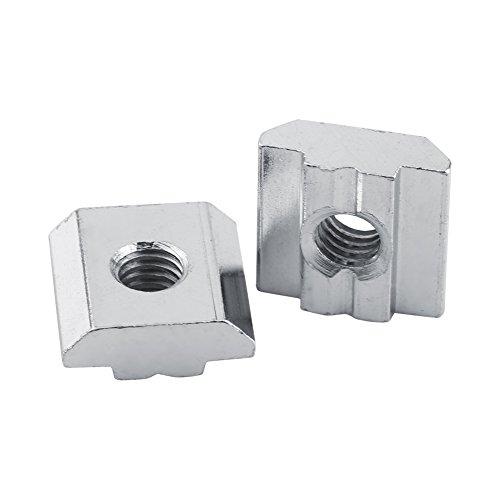 50er Nickel Beschichtete T-Nut Nut Carbon Stahl Silber Carbon Gleitverschluss für Aluminium Profil Zubehör Europäische Standard(EU20-M5)