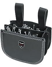 KWB perçinli çanta deri iki bölmeli ve kemer halkası asmak için siyah